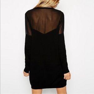 Asos black knitted sweater dress W Sheer details